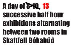 A DAY OF 13 SUCCESSIVE HALF HOUR EXHIBITIONS ALTERNATING BETWEEN TWO ROOMS IN SKAFTFELL BÓKABÚА