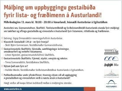 Málþing um uppbyggingu gestaíbúðar fyrir lista- og fræðimenn á Austurlandi